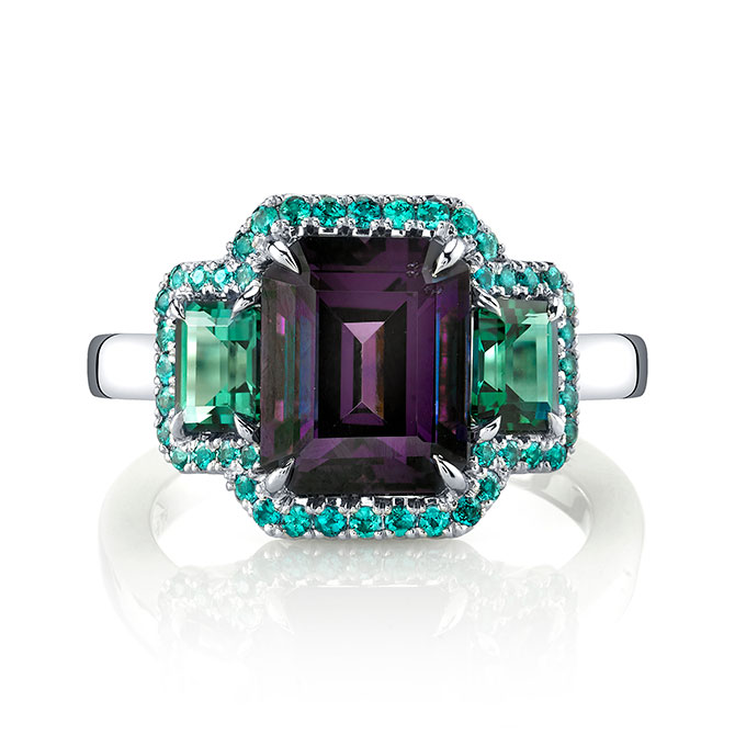Omi Prive purple spinel ring with blue green tourmaline