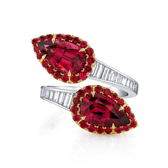 Omi Prive red spinel and diamond bypass ring