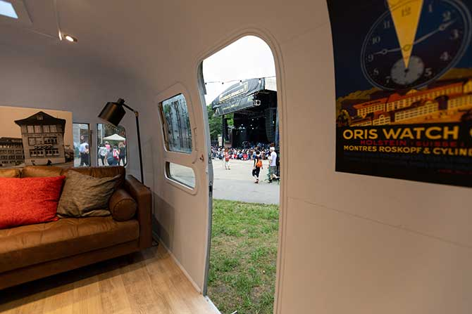 Oris Airstream pop-up boutique interior