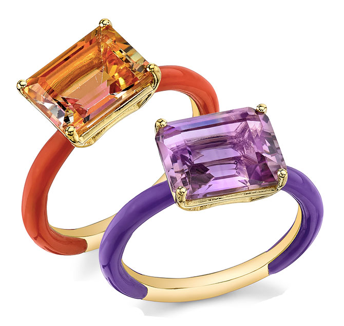 Sarah Hendler gemstone enamel rings