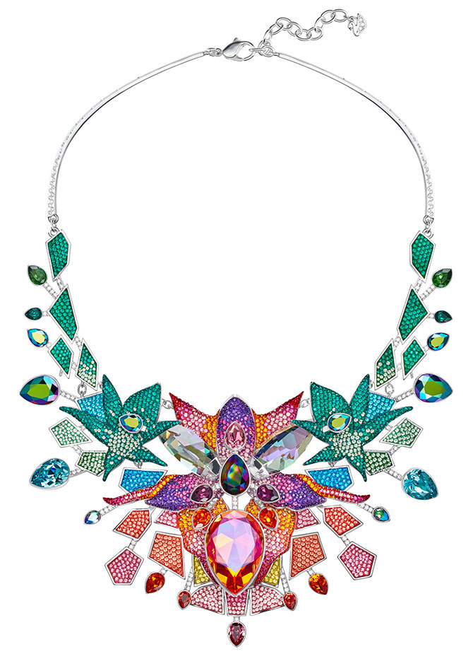 Swarovski lively sparkle multicolor bib necklace