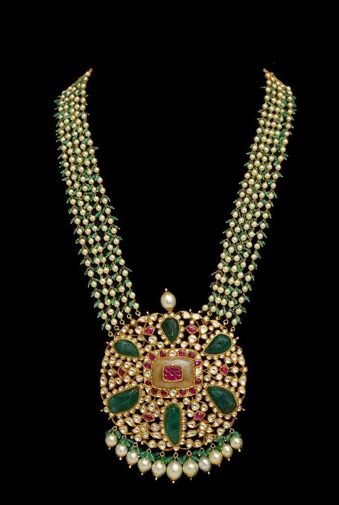 Traditional Indian kundan polki necklace by Ghatiwala Jewellers
