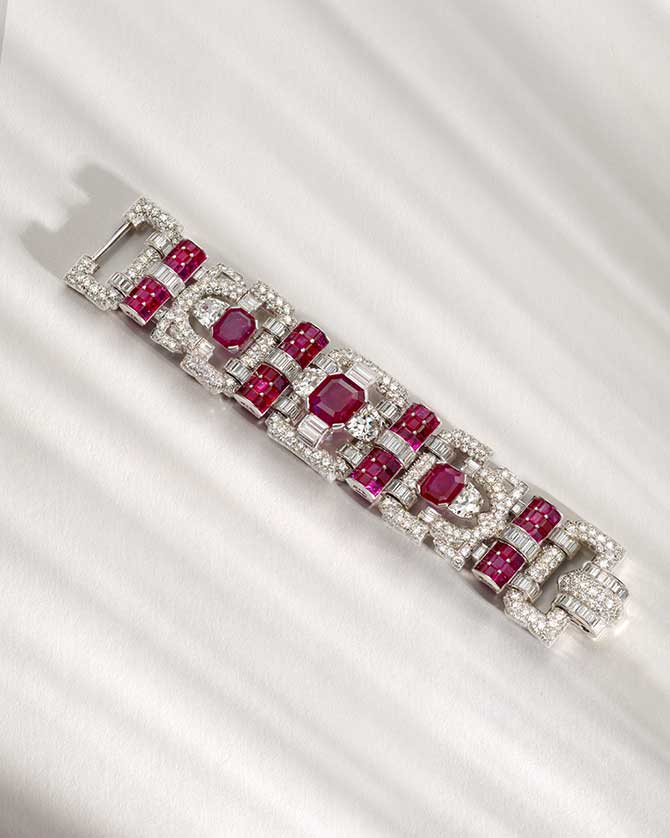 Van Cleef & Arpels ruby and diamond bracelet full length