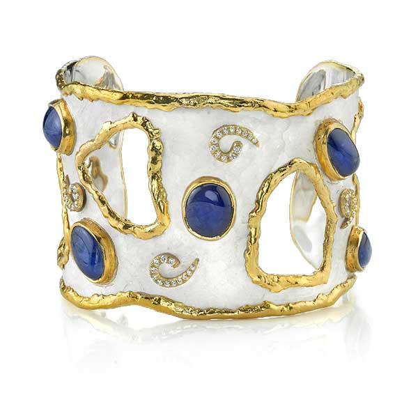 Victor Velyan blue sapphire and white patina bracelet