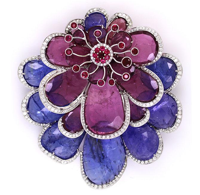 Vivaan tourmaline tanzanite ruby pendant