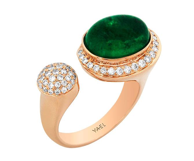 Yael emerald and diamond ring