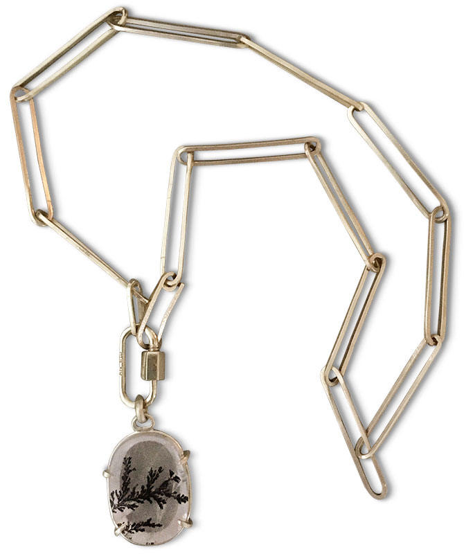 judi powers dendritic quartz pendant marla aaron lock russell jones chain