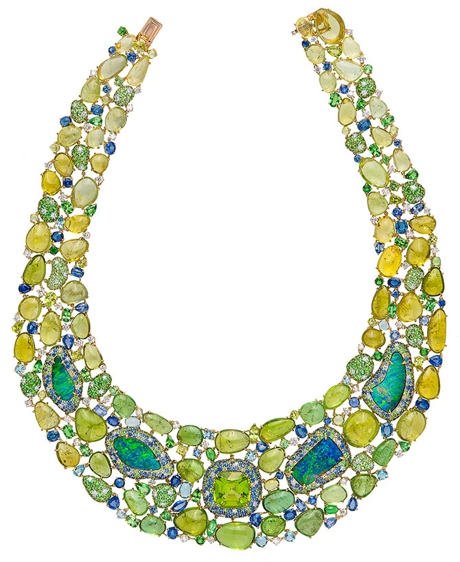 margot mckinney peridot opal bib necklace