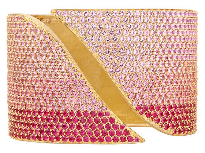 sandy leong x swarovski pink sapphire ruby cuff