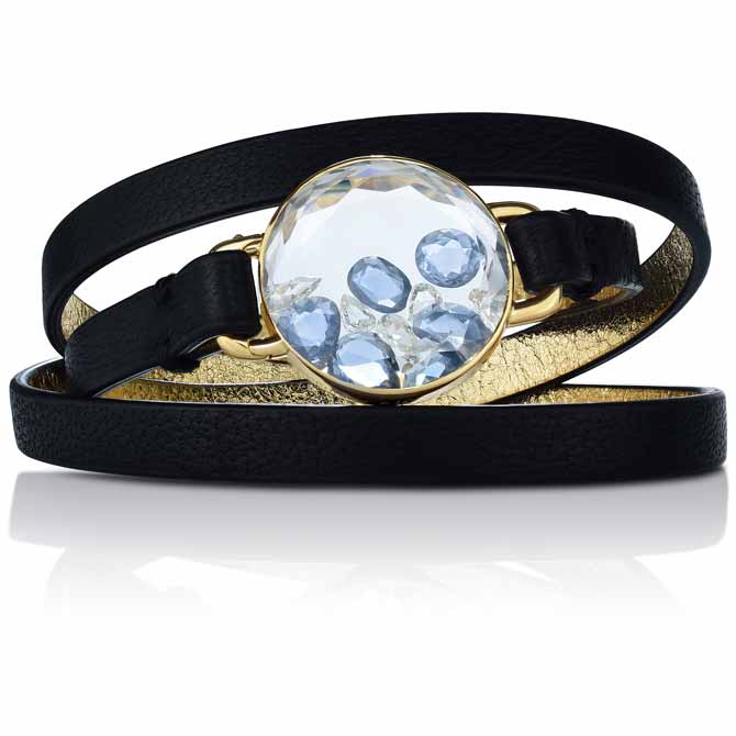 Moritz Glik leather and sapphire bracelet