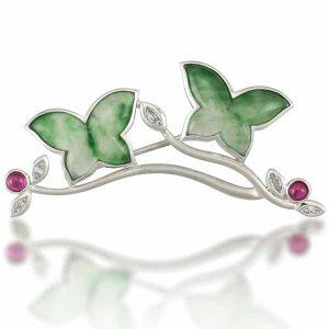 Mason-Kay jade butterfly brooch