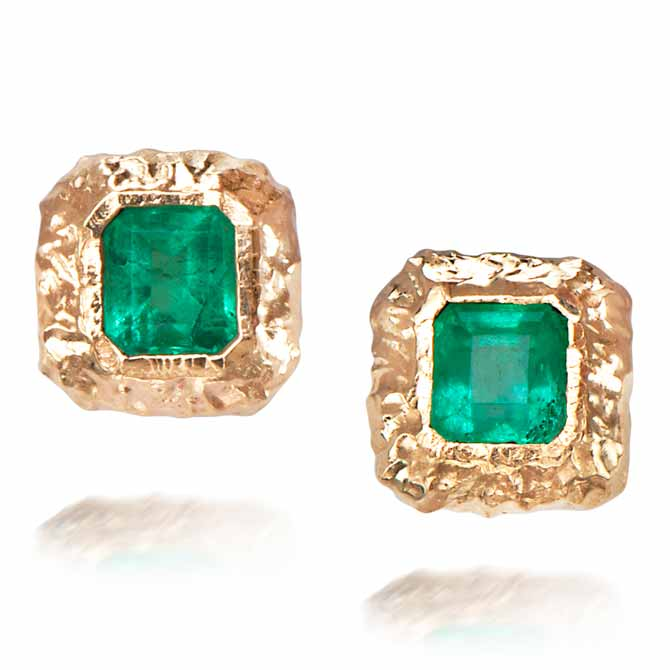Just Jules emerald stud earrings