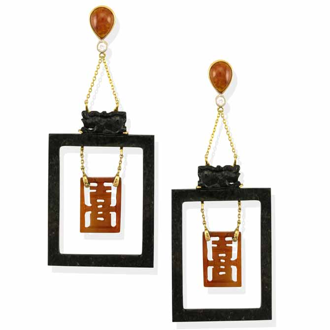 Mason-Kay jade happiness drop earrings