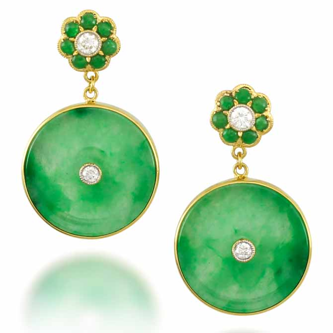 Mason-Kay jade disc earrings