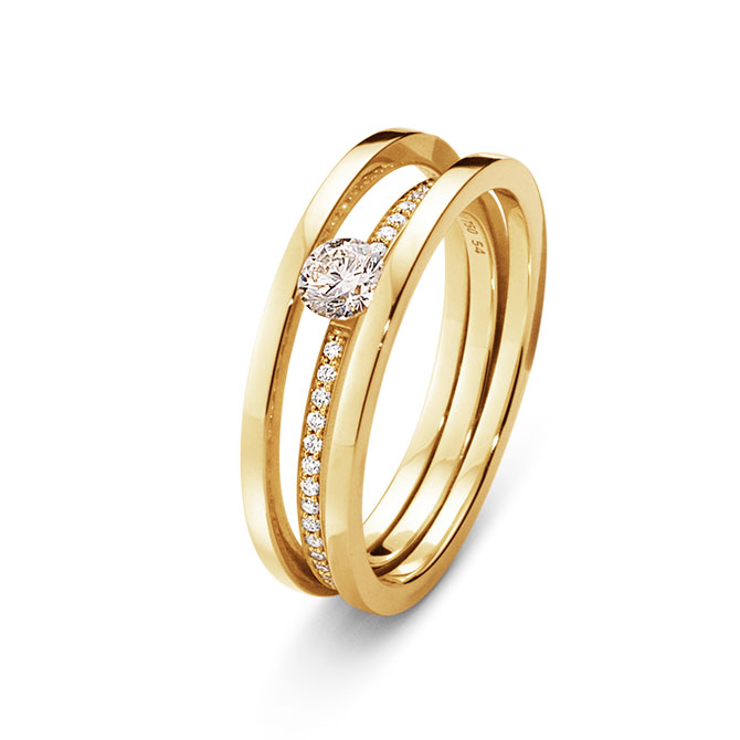 Georg Jensen Halo solitaire ring with diamonds