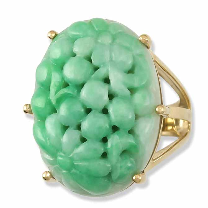 Mason-Kay carved jade cocktail ring