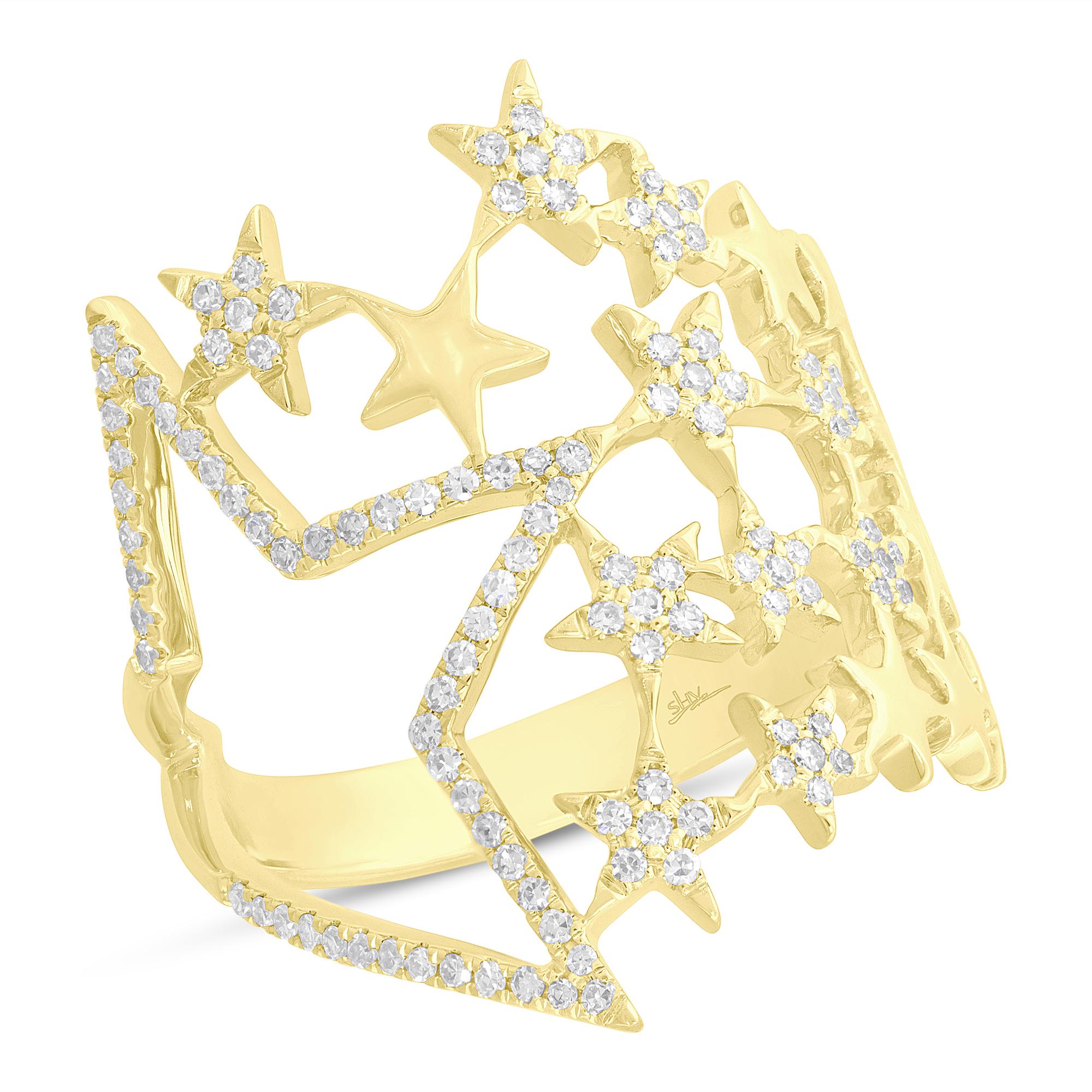 Shy Creation diamond star ring