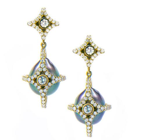 Jordan Alexander Diamond Caged Baroque Tahitian Pearl earrings