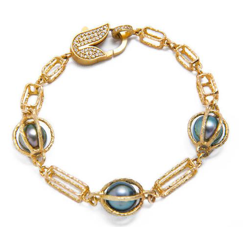 Jordan Alexander 18K Gold Caged Pearl Box Chain bracelet 5,965.00