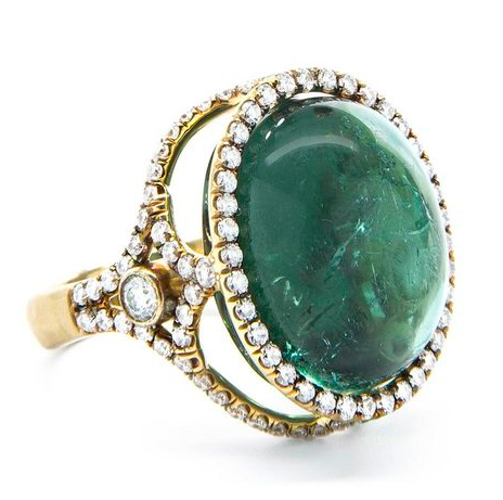 Jordan Alexander 18k Gold and Diamond Caged Green Tourmaline ring with double diamond row