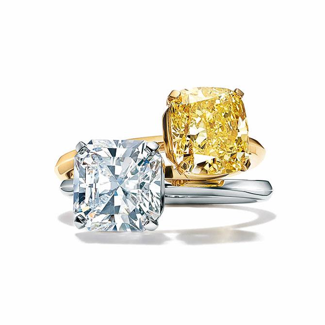 Tiffany True engagement ring white and yellow diamond center stone