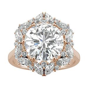 Charles and Colvard moissanite gold halo ring bridal