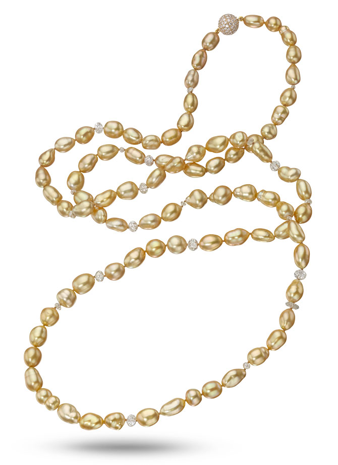 Assael golden keshi pearl necklace