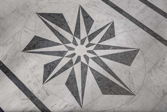 Black and white marble marquetry at Harry Winston salon