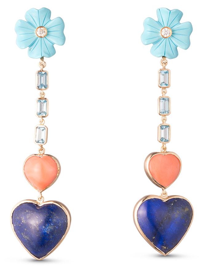Brent Neale lapis coral heart earrings