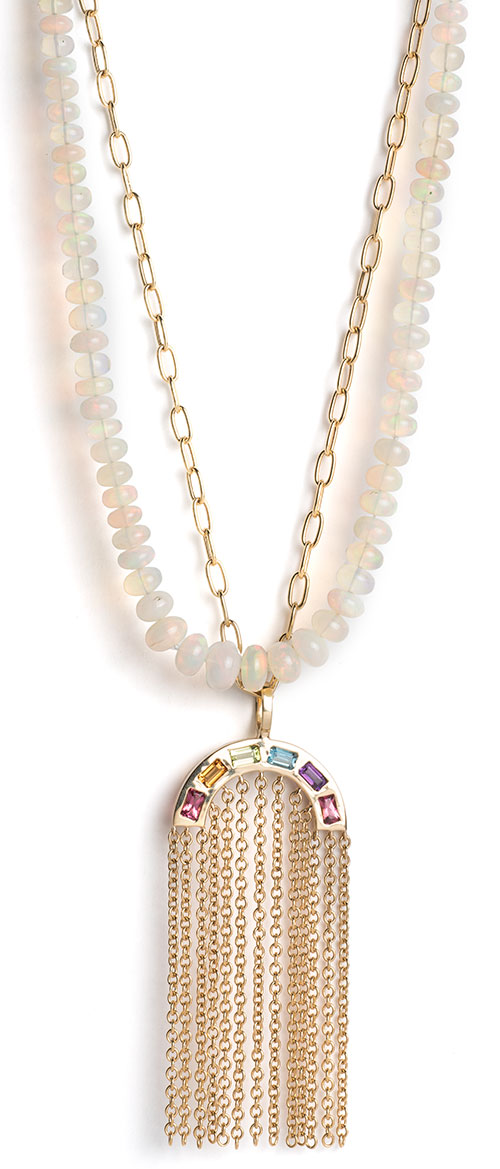 Brent Neale opal rainbow tiered necklaces