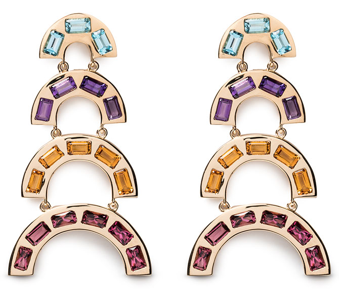 Brent Neale rainbow tiered earrings