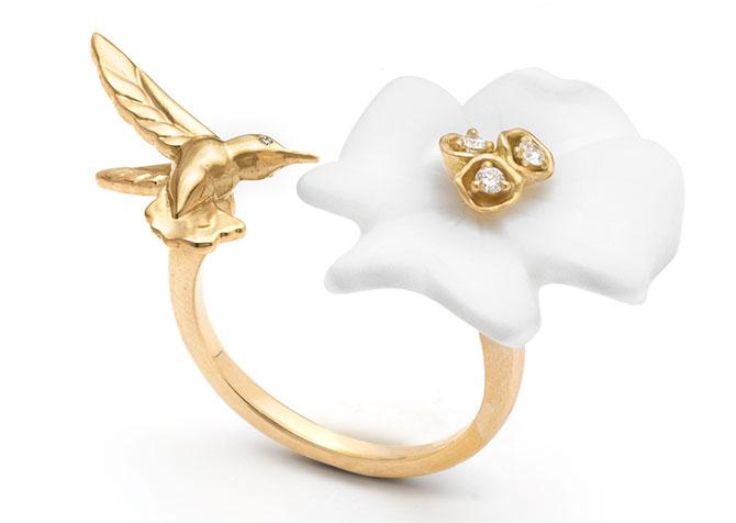 Brent Neale white agate flower ring
