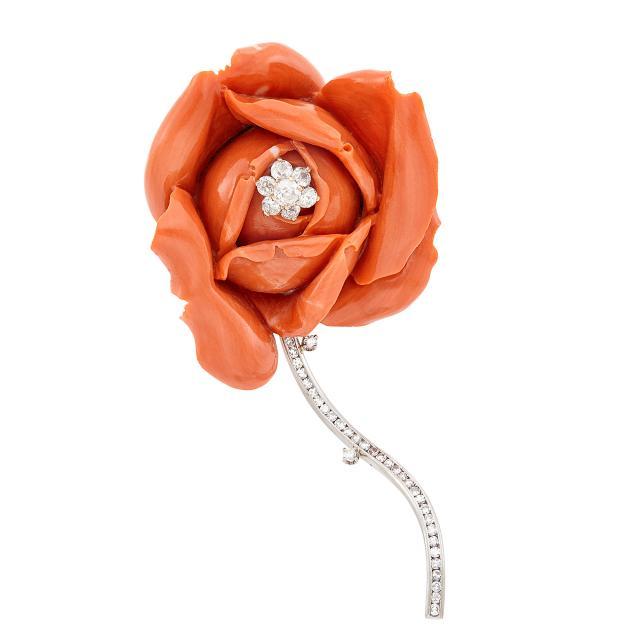 Carved rose coral brooch