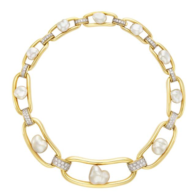 David Webb pearl and gold necklace