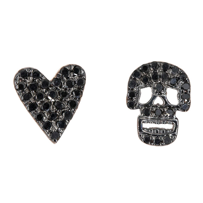 Andrea Groussman black diamond stud earrings