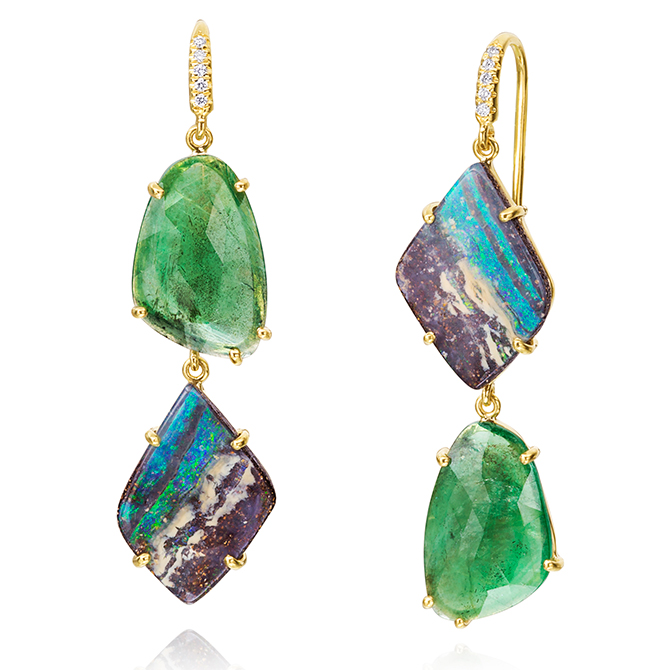 Lauren K opal and emerald drop earrings