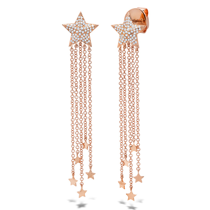 Shy Creation rose gold fringe star earrings