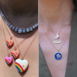 Elisabeth Bell silhouette necklace and Rainbow Vintage 1980 pendants