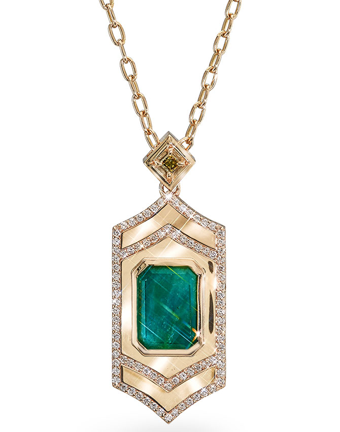 GiGi Ferranti emerald locket necklace