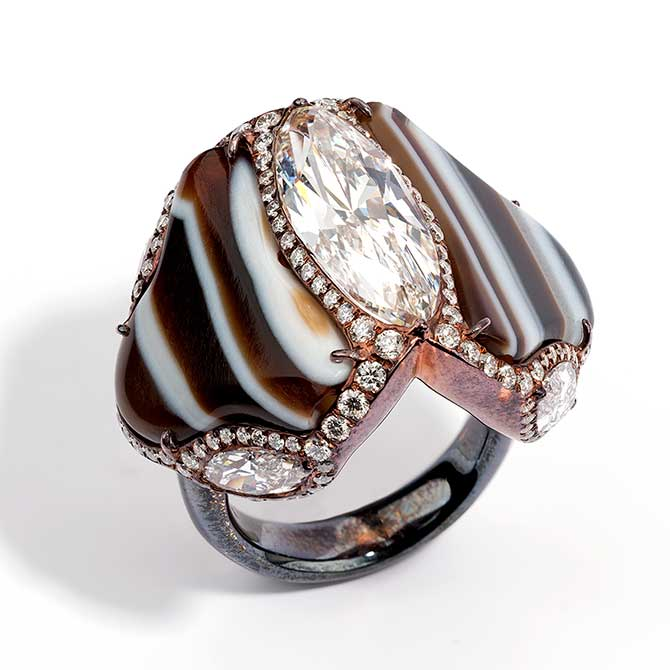Glenn Spiro diamond and agate ring