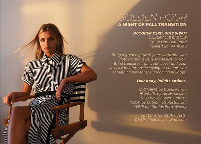 Golden Hour Alexis Kletjian jewelry event invite