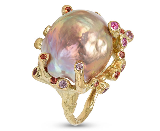 Kimberlin Brown branching coral kasumi pearl ring