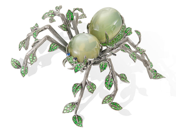 Lydia courteille leaf spider brooch