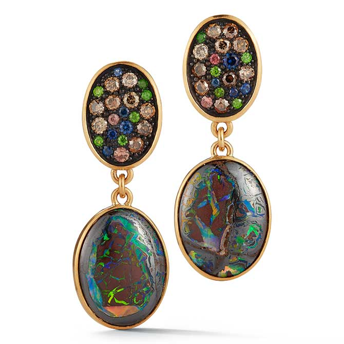 McTeigue McClelland opal and gemstone earrings