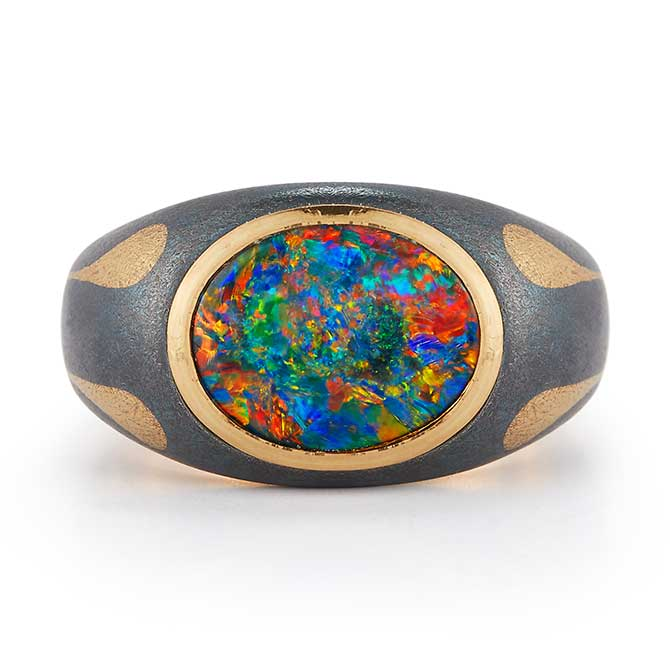 McTeigue McClelland opal mens ring