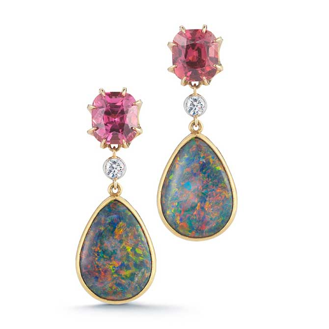 McTeigue McClelland sapphire and opal earrings