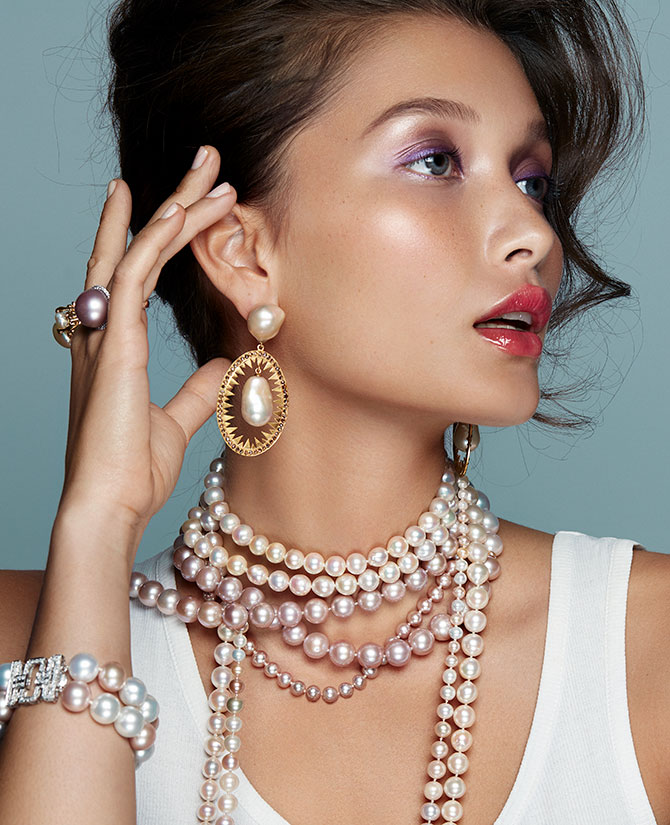 Model in pink pearls