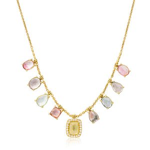 Lauren K multicolor tourmaline fringe necklace