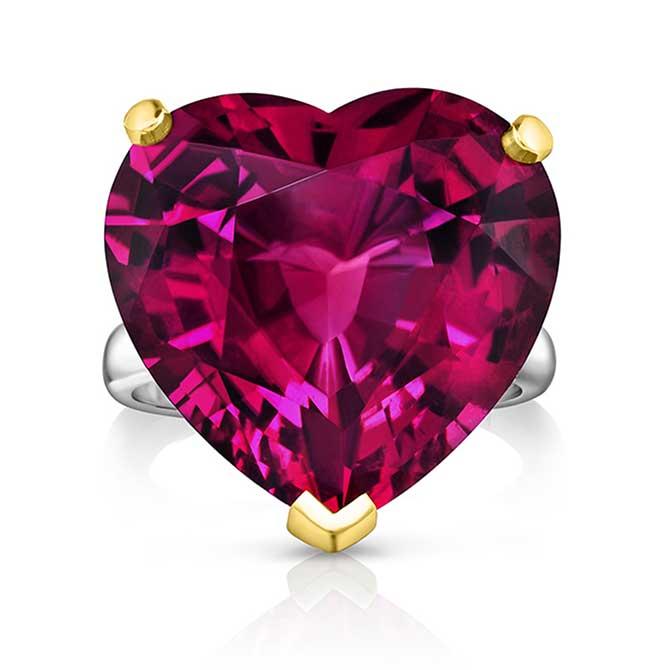 Oscar Heyman heart shape rubellite ring