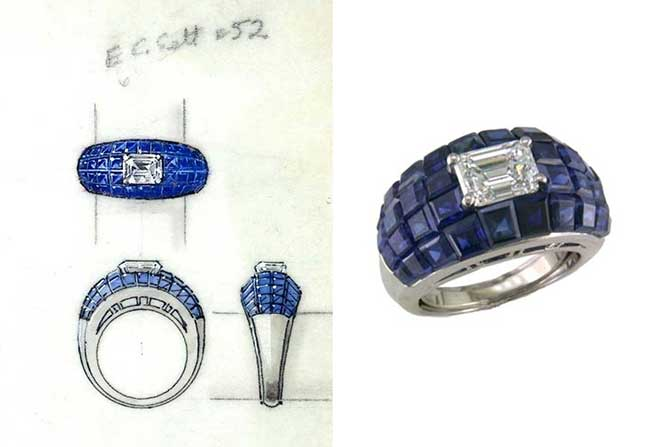 Oscar Heyman invisibly set blue sapphire ring and rendering